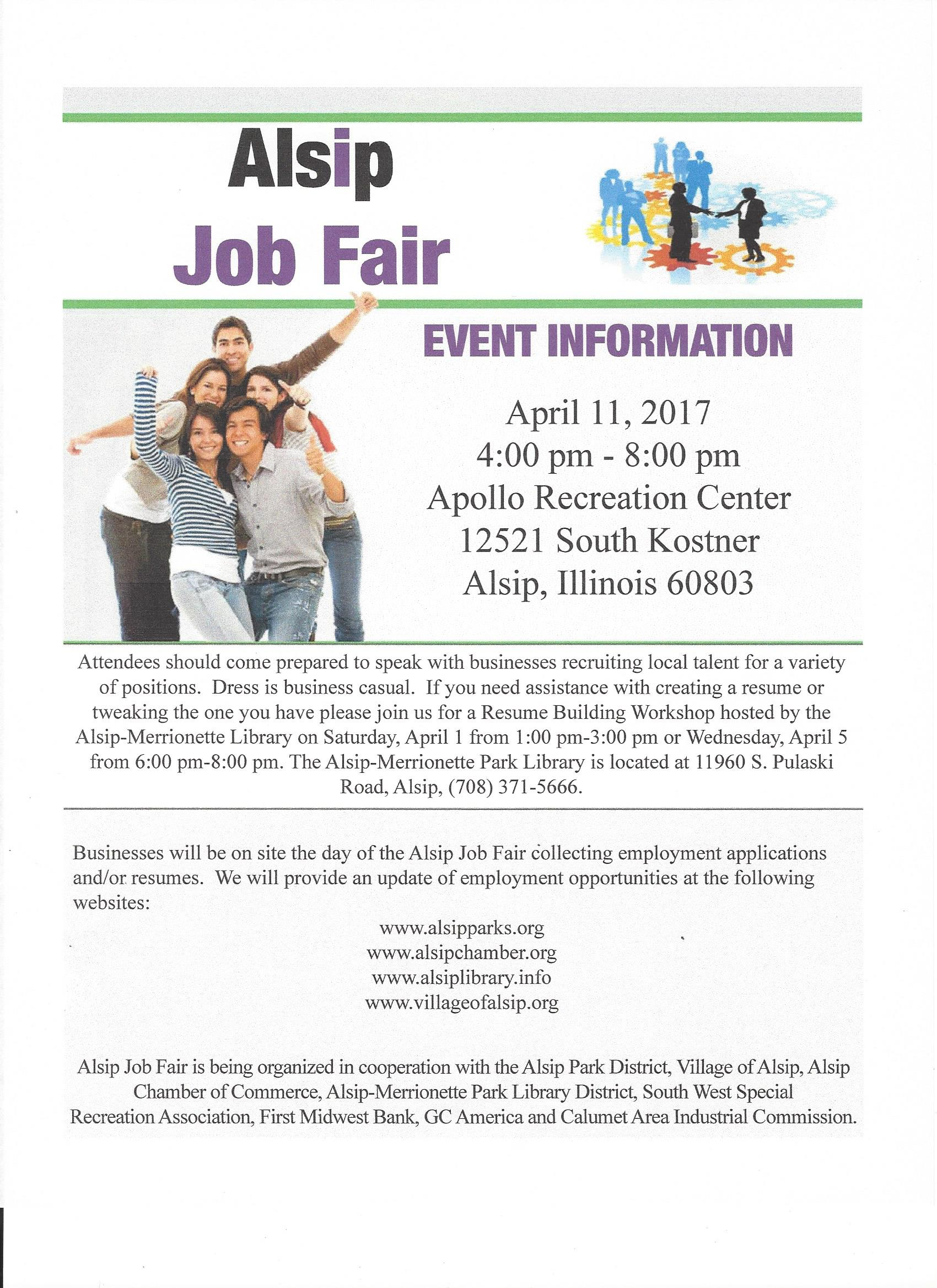 alsip job fair resume building workshop april 5 2017